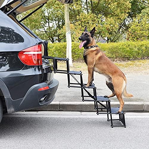 Escaleras de 5 escalones para coche para perros con funda para asiento trasero, escalera para perros con superficie antideslizante, rampas para perros grandes y portátiles Escaleras para viajes ⭐