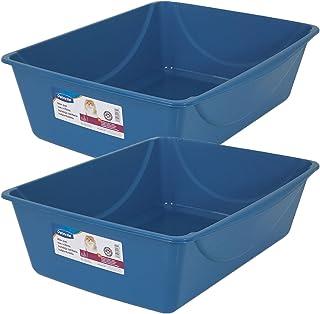 Doskocil Petmate Litter Pan, Blue Mesa/Mouse Grey, Jumbo, 2 Pack