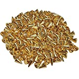 200PCS Bullet Cone Spikes Metal Screwback Studs for DIY Leather Craft Cool Rivets Punk 7 x 10mm Gold