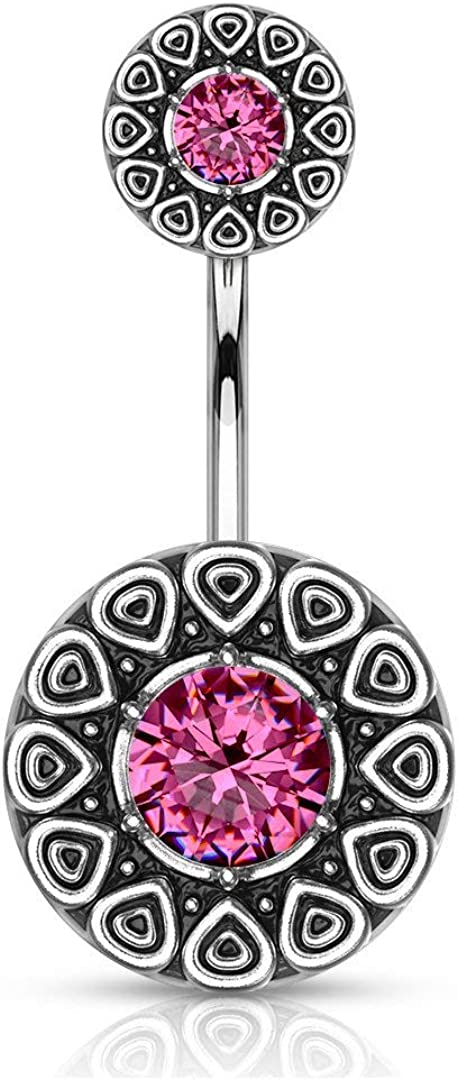 Forbidden Body Jewelry Surgical Steel Tribal Pattern Belly Button Ring with CZ Center and Matching Top