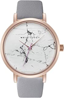 WRISTOLOGY Olivia - 4 Options - Womens Watch Rose Gold Marble Boyfriend Ladies Grey Leather Strap Band