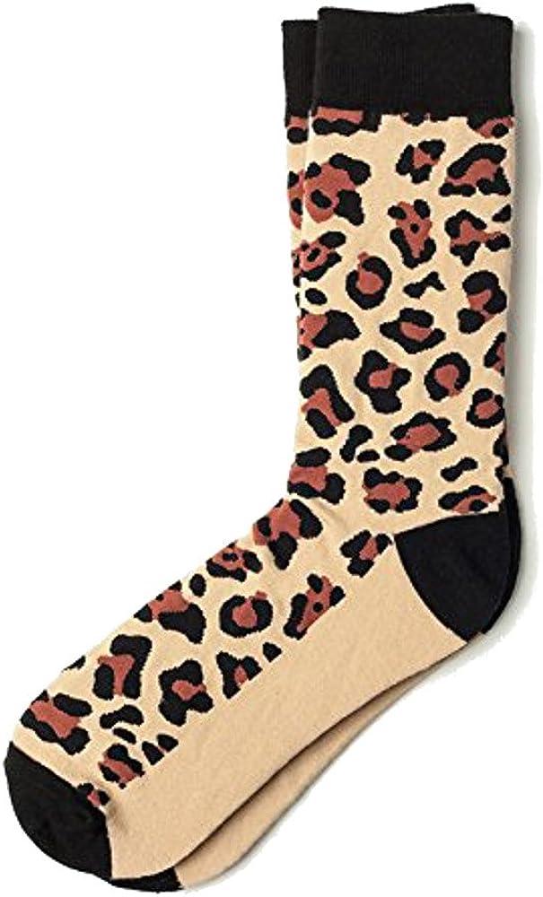 Men's Brown Beige Leopard Animal Print Crew Dress Socks
