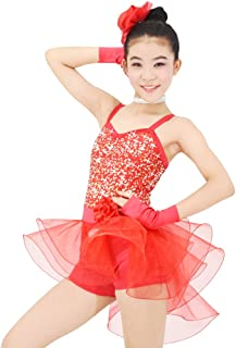 Girls Dance Costume Ballet Biketard Camisole Sequin Dress