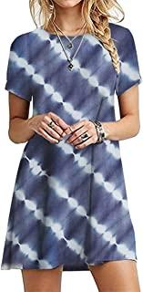 OMZIN - Vestido de mujer de manga corta, informal, de corte redondo, en tallas grandes, de 2XS a 5XL azul marino y azul. XL