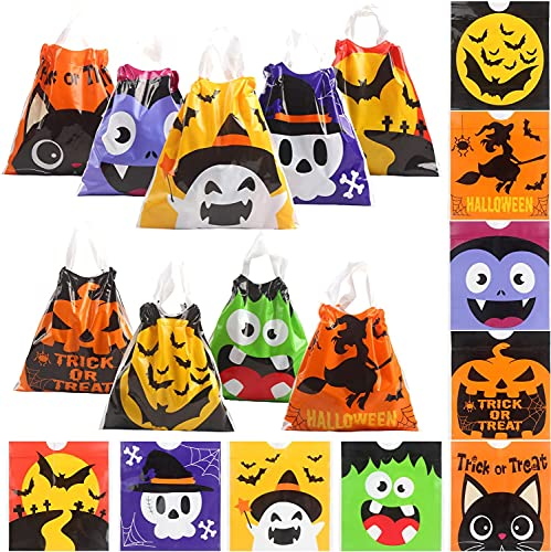 FINGOOO 36 pieces Halloween Drawstring Candy Bags PVC Trick or Treat Bags Goodie Bags Halloween Supply for Kids (9 Styles)