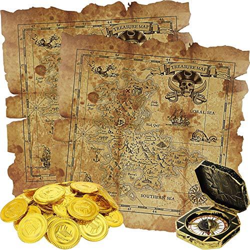 64 Stücke Piraten Themen Spielzeug, Enthält 60 Stücke Piraten Goldmünzen Gefälschte Münzen, 2 Stücke Schatzkarte und 2 Stücke Piraten Kompass für Schatzsuche Spielset Spielzeug Geburtstag