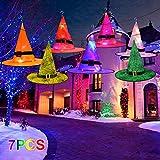 GUOfeudallord Sombrero de Bruja de Halloween con luz LED decoración, 7 Piezas Coloridas de Halloween para Colgar, Sombreros Brillantes de Bruja con Gancho para decoración de Patio al Aire Libre