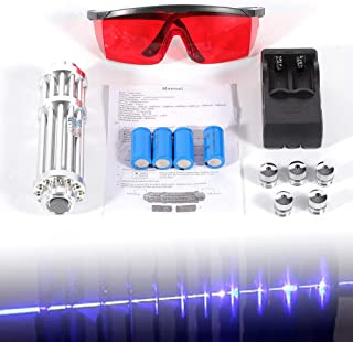 Blue L.a.s.e.r Pointer High Power Burning Light 450nm 5mW Military Kit Visible Beam Light Pen Goggles 5 Caps Battery Charger Metal Portable Box