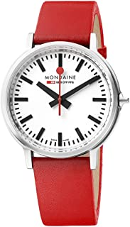 Mondaine Men's SBB Stainless Steel Swiss-Quartz Watch with Leather Strap, red (Model: MST.4101B.LC)