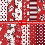 48 Stück Weihnachten Baumwolle Stoff Handwerk Bündel 6 x