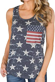 7415117a5b9 Women's American Flag Camo Tank Top Tee Sleeveless Shirts 4th July  Patriotic USA Flag Vest Blouse
