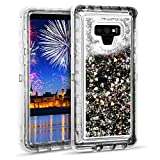Wollony for Galaxy Note 9 Glitter Liquid Case Girly Heavy Duty Quicksand 3 in 1 Hybrid Shockproof Hard Bumper Soft Clear Rubber Protective Cover for Samsung Galaxy Note 9 Black