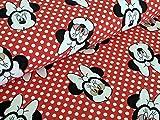 Baumwolljersey Disney Minnie Maus Köpfe auf Dots Rot Stoff