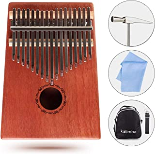 KaisiT Kalimba Thumb Piano 17 Keys Solid Mahogany Body with Tune Hammer, Instruction Book & Case Bag,Portable Finger Piano