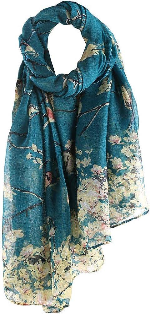Women Fashion Flower Birds Printed Long Scarf Winter Warm Wrap Shawl Girl Voile Popular Wonderful Gift 90cmX180cm Asibeiul