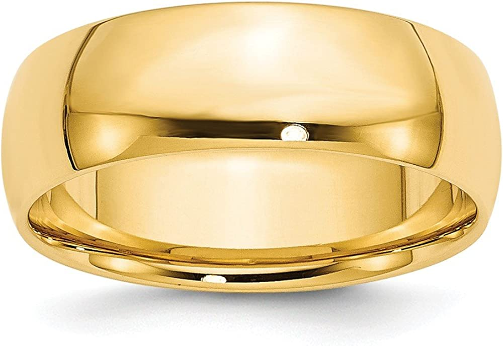 Solid 14k Yellow Gold 7mm Comfort Fit Wedding Band