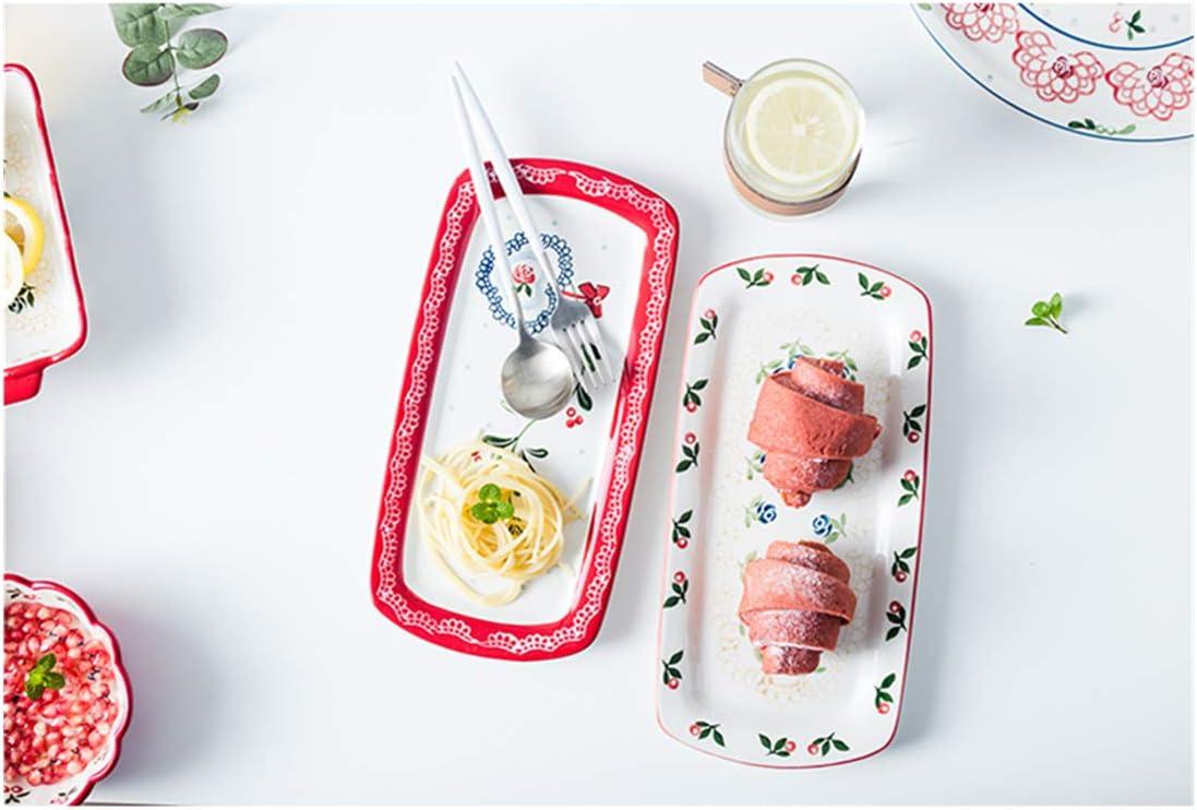OISII 26cm Square Dinner Plate Set of 2 Large Porcelain Christmas Wedding Holiday Cake Serving Platter Dishwasher Safe