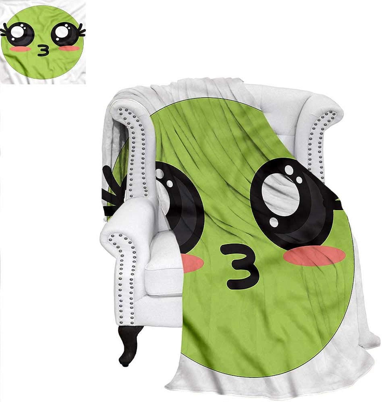 RenteriaDecor Kawaii Travel Throw Blanket Anime Eyes Emoji Cartoon Blanket 60 x36