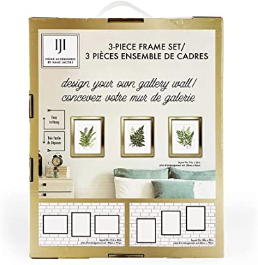 Isaac Jacobs 8x10 3-Piece Gallery Frame Set, Wall-Mountable Picture Frame Collection, 5x7 with Mat- 8x10 Without; Made for Ga