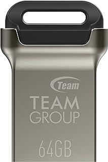 TEAMGROUP C162 64GB USB 3.2 Gen 1 (USB 3.1/3.0) Mini Fits Metal USB Flash Drive, Read up to 90MB/s, External Storage Thumb Drive Memory Stick TC162364GB01