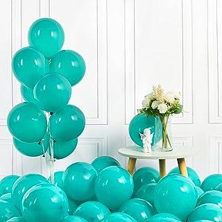 Turquoise Balloons 100 Pcs Pastel Teal Blue Latex Balloons 10'' Peacock Blue Round Helium Balloon for Birthday Wedding Bab...