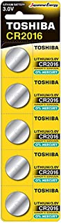 Toshiba CR2016 3V Lithium Coin Cell Battery Pack of 5 batteries Expiry date Nov 2024