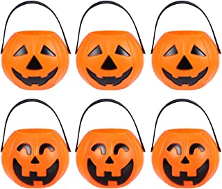 STOBOK 6pcs Halloween Pumpkin Bucket Trick or Treat Candy Basket Candy Holders for Girls Boys Halloween Party Supplies
