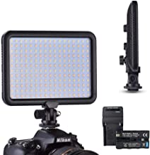 koolehaoda Camera 204 Led Lighting Panel, Video Photo Studio Light, Stepless Dimmable Brightness, 3200K - 5600K White and Yellow Light, 2400mAh Battery and Charger, Ultra-Thin, for DSLR DV Camcorder