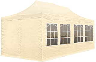 TOOLPORT Faltpavillon Faltzelt Pavillon Klappzelt 3x6 m - ca. 300g/m² Plane + Stahlgestänge - Zelt Partyzelt Gartenzelt Sonnenschutz Markstand Popup, mit 4 Seitenteilen, beige