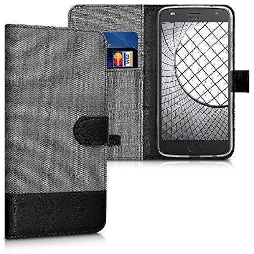 kwmobile Hülle kompatibel mit Motorola Moto Z2 Play - Kunstleder Wallet Hülle mit Kartenfächern Stand in Grau Schwarz