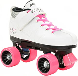 Pacer Mach-5 GTX500 White Quad Roller Skates w/ 2 Pair of Laces (Pink & White)
