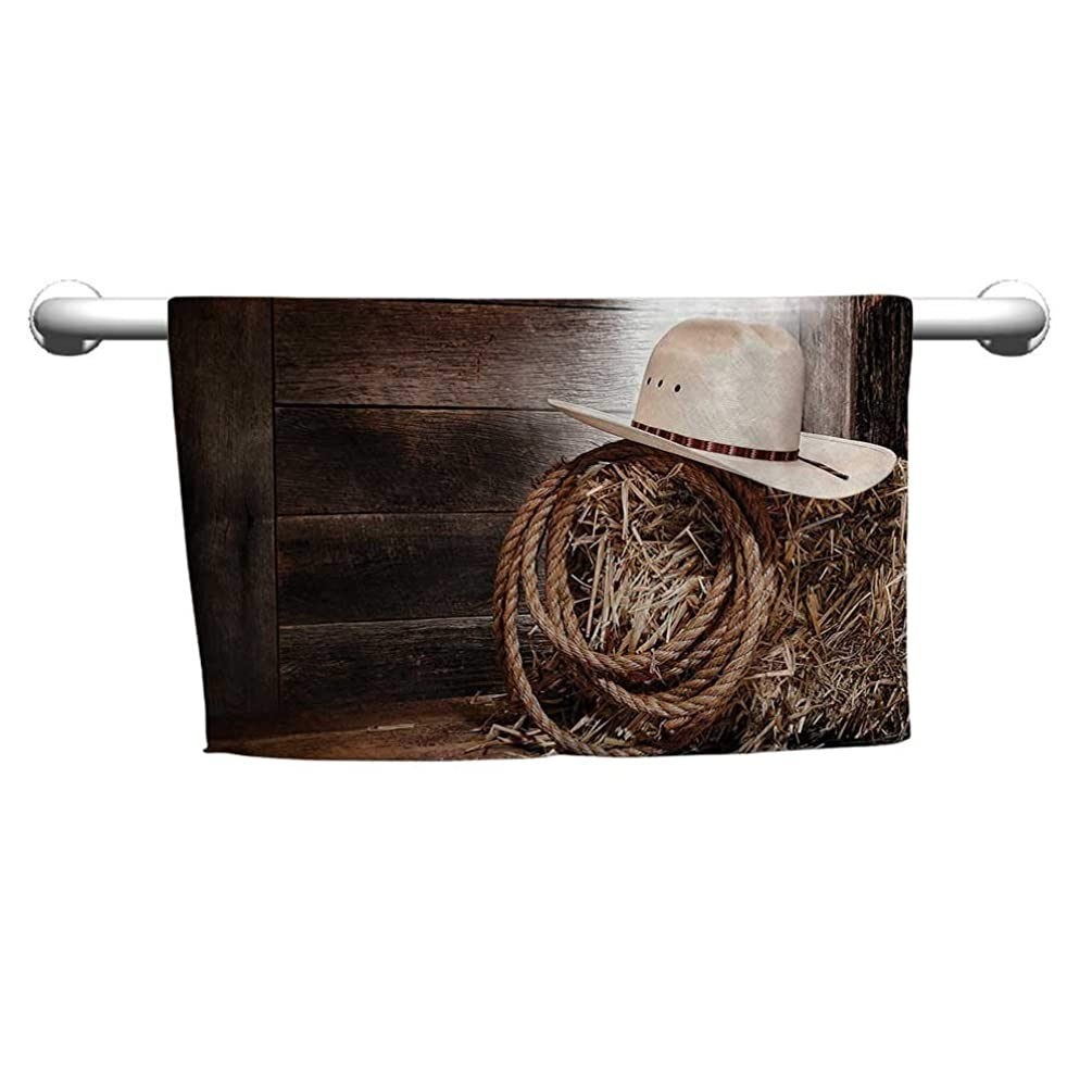 起こるセッティング行商人クレイジーパターン ハンドタオル ウエスタン装飾コレクション 古代のワゴンホイール 素朴な木製ヴィンテージランタン ウィンドウとバケツの写真 カーキ フード付きビーチタオル 女の子用 W10