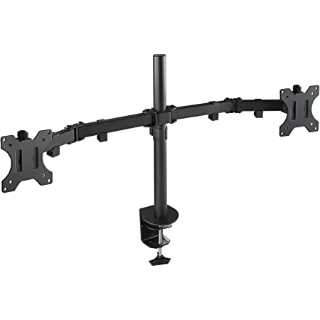 "TooQ DB1232TN-B - Soporte de mesa giratorio, inclinable para 2 monitor/TVs LED/LCD, (13""-32"", 8kg peso por brazo, altura ajustable hasta 443mm, inclinación +/-45º, giro 180º,VESA 75x75/100x100), negro"