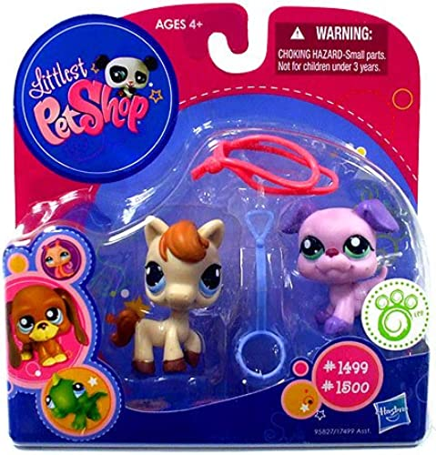 Littlest Pet Shop - EXCLUSIVE - Pet Pairs - Pony  1499 & lila Bulldogge & Zubeh