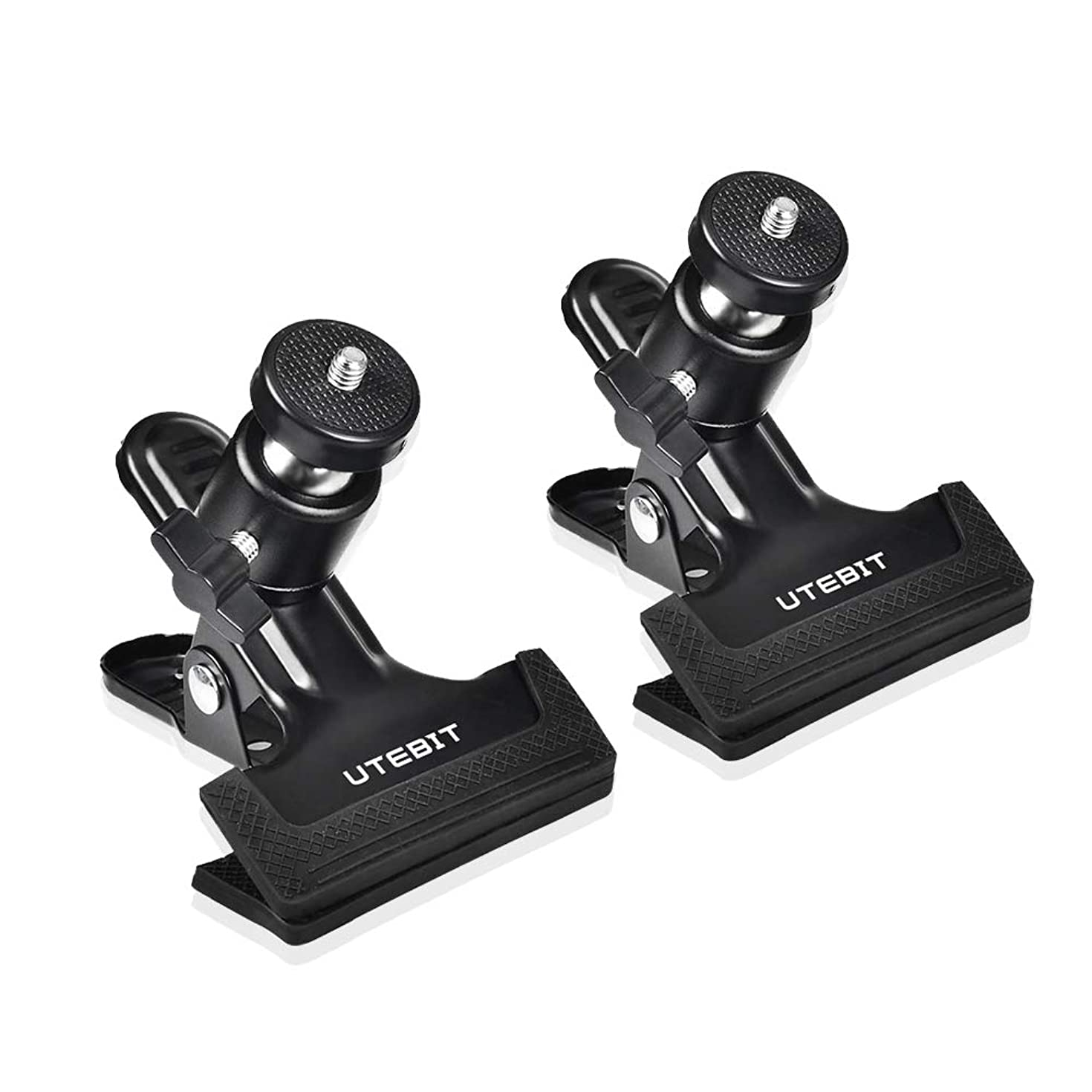 UTEBIT Tripod Clip Clamp with 360 Degree Mini Ballhead 2 Pack Heavy Duty Clamps Photography Accessories Clips Mount 1/4'' Screw Black Spring Clamp for DSLR, Video, Photoshoot, Studio Backdrops Camera