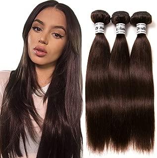 Ornate Hair 8A Grade Virgin Brazilian Straight Hair 3 Bundles Weave 100% Unprocessed Remy Human Hair Extensions #2 Dark Brown 100g/bundle 10 10 10 Inch