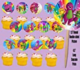 Party Over Here Barney Purple Dinosaur Double-Sided Cupcake Picks Cake Toppers -12 pcs