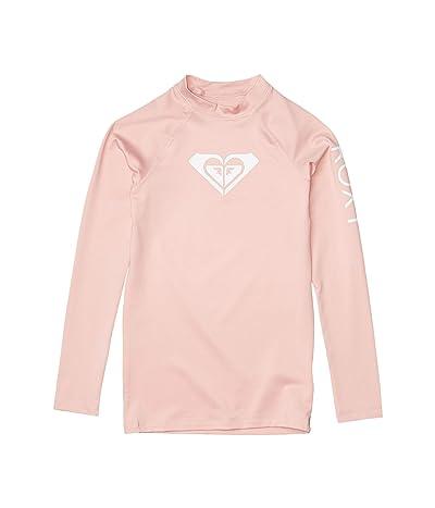 Roxy Kids Whole Hearted Long Sleeve Rashguard (Big Kids) (Silver/Pink) Girl