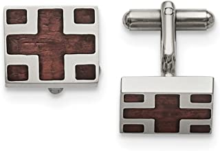 Saris and Things Stainless Steel Polished Wood Inlay Cuff Links