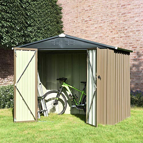 8' x 6' Storage Shed, Utility Storage Shed for Garden Backyard Lawn, Patio House Building with Double Doors and Lock