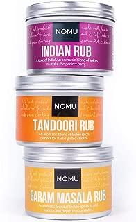 NOMU Rub Curry Trio Set - Indian, Tandoori & Garam Masala Seasonings (3-pack) - Premium Blends of Herbs & Spices - No MSG or Preservatives