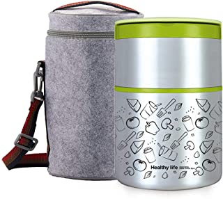 Lille Home 32OZ Vacuum Insulated Stackable Stainless Steel Thermal Lunch box | 2-Tier Bento box/Food Container with Insulated Lunch bag | BPA Free | Leakproof | Adults, Men, Women(Green)