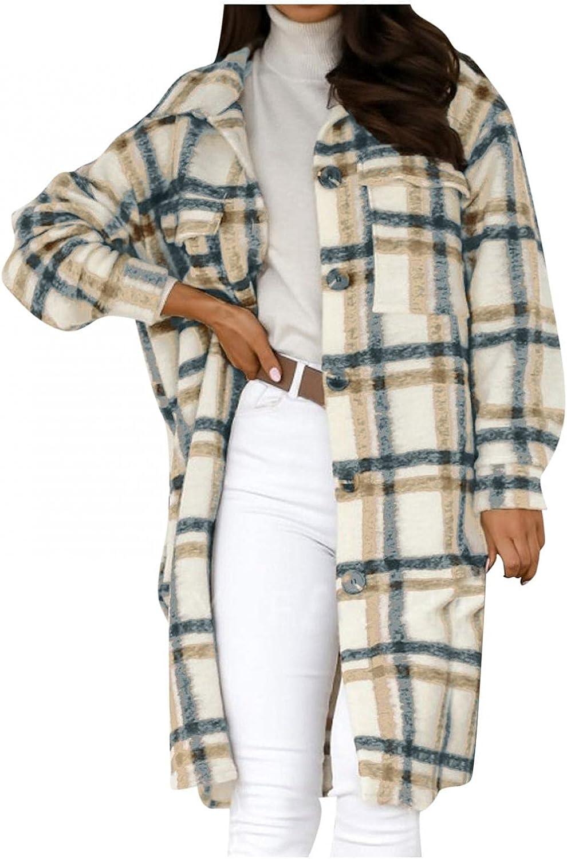 Misaky Women's Faux Wool Thin Coat Turn Down Collar Grid Outwear Jacket Wool Hem Wrap Overcoat