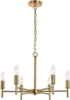 SPARKSOR Chandelier - 6 Lights Modern Pendant Lighting Brass Ceiling Light Fixture, Indoor Candle 21