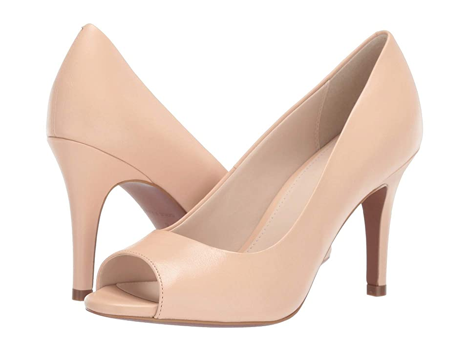 Cole Haan 85 mm Harlow Open Toe Pump (Nude Leather) Women