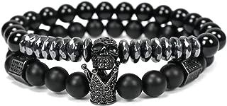 FRS2FJH Natural Stone Beads Crown Bracelet Men Jewelry Skull Skeleton Titanium Steel Bracelets,Black 3,7 inch S