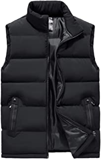Lentta Mens Casual Slim Sleeveless Thicken Quilted Padded Zipper Puffy Vest Coats