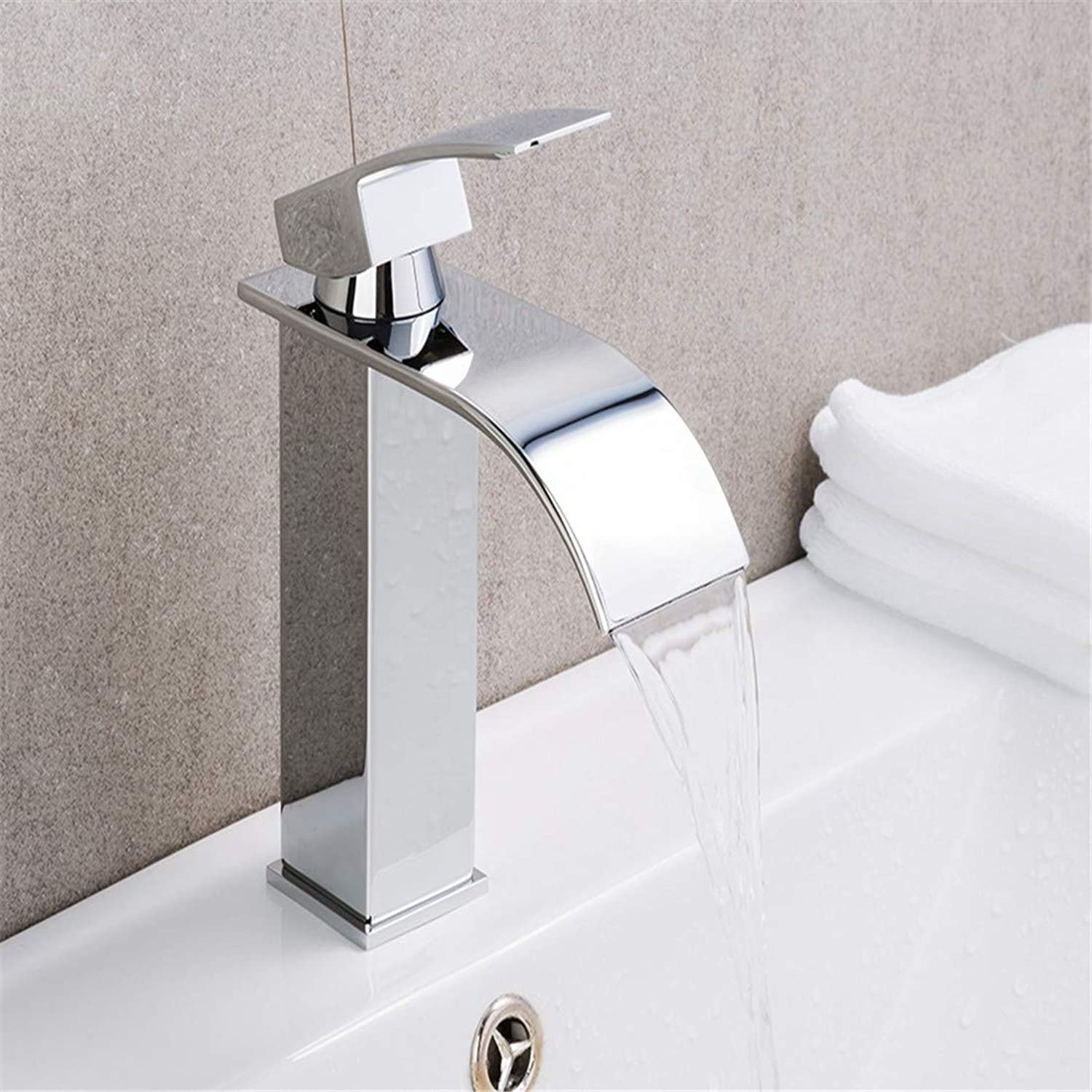 Retro Plated Plated Plated Hot and Cold Faucet Faucetbasin Vanity Sink Faucet Single Handle Waterfall Bathroom Mixer 19a07a