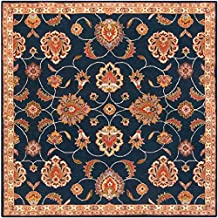 Tampa Traditional Vintage Persian 8' Square Square Traditional 100% Wool Navy/Khaki/Rust/Tan/Dark Brown Area Rug