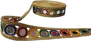 9 Yard Kundan Multicolor Mirror Work Trim Dupatta,Saree,Sari Kundan Lace,Glass Beads,Stone Work Border,Bollywood Sari,Wedding Golden